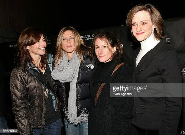 Actresses Catherine Keener Jennifer Aniston director Nicole Holofcener and actress Joan Cusack arrive at the Friends with Money opening night...