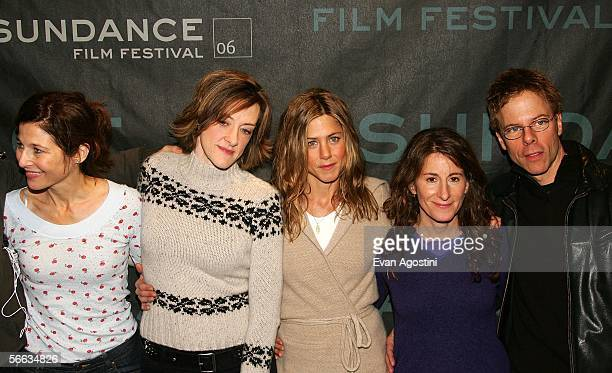 Actresses Catherine Keener Joan Cusack Jennifer Aniston director Nicole Holofcener and Greg Germann attend the Friends with Money Press Conference at...
