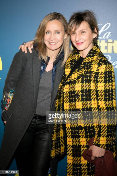 Actresses Catherine Marchal and Sophie Mounicot attend the 'La Ch'tite Famille' Premiere at Cinema Gaumont Marignan on February 14 2018 in Paris...
