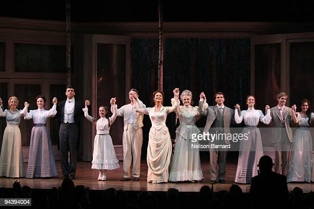 Actresses Catherine ZetaJones and Angela Lansbury along with the cast appear onstage during curtain call at the opening of A Little Night Music at...