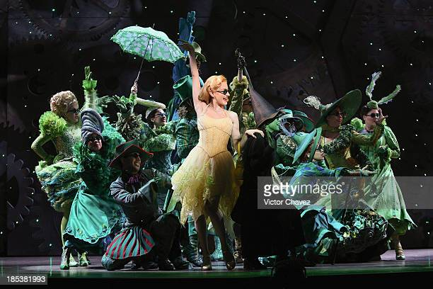 Actresses Cecilia de la Cueva and Danna Paola perform on stage during the musical Wicked media call at Teatro Telmex on October 18 2013 in Mexico...