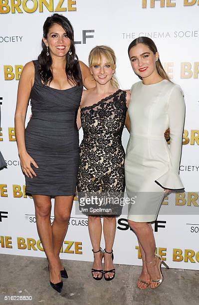Actresses Cecily Strong Melissa Rauch and Haley Lu Richardson attend The Cinema Society SELF host a screening of Sony Pictures Classics' The Bronze...