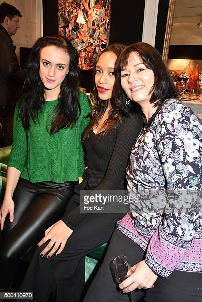 Actresses Celine Berti Aude Forget and producer Elisabeth Deshayes attend the 'Accords Croises' Anne Mondy Exhibition Preview at Galerie Dedar on...