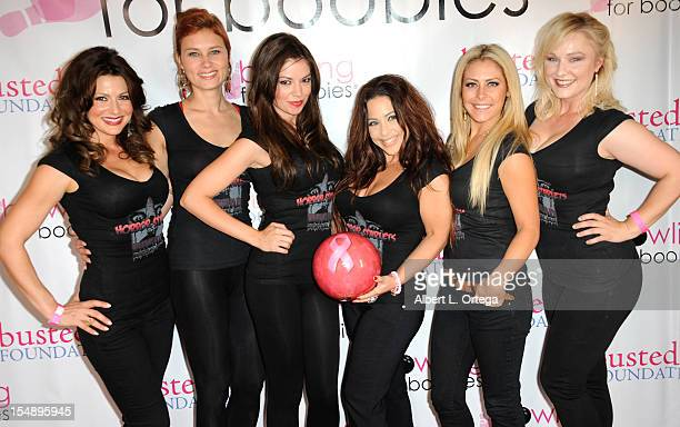 Actresses Cerina Vincent Kristina Klebe Carlee Baker Brooke Lewis Allison Kyler and Natalie Victoria participate in Busted Foundation's 'Bowling For...