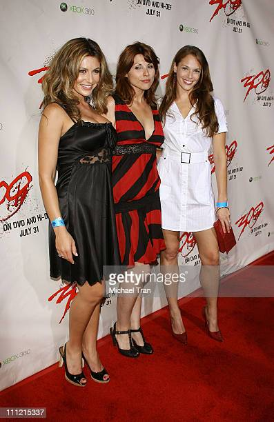 Actresses Cerina Vincent Laia Gonzalez and Amanda Righetti arrives at the 300 DVD Release Party at Petco Stadium on July 27 2007 in San Diego...