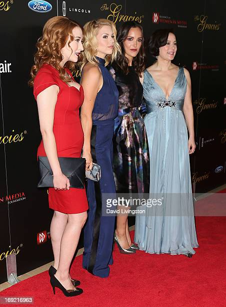 Actresses Charlotte Hegele Alie Liebert Jodi Balfour and Meg Tilly attend the 38th Annual Gracie Awards Gala at The Beverly Hilton Hotel on May 21...
