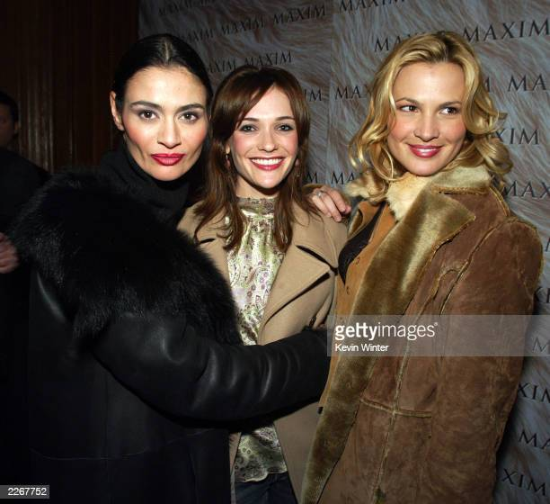 Actresses Charlotte Lewis Bre Blair and Kathleen MacKellan arrive at Maxim Magazine's Warm and Fuzzy party for the US Comedy Arts Festival at Whiskey...