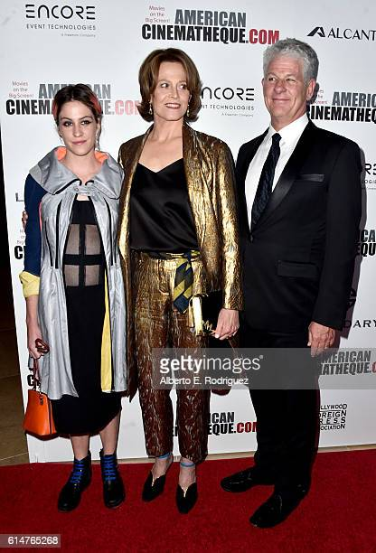 Actresses Charlotte Simpson and Sigourney Weaver and director Jim Simpson attend the 30th Annual American Cinematheque Awards Gala at The Beverly...