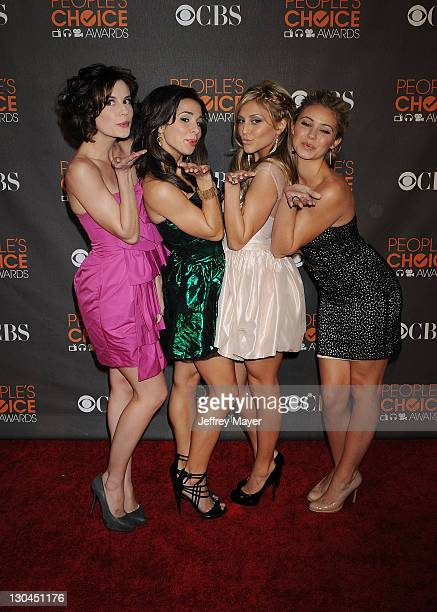 Actresses Chelsea Hobbs, Josie Loren, Cassie Scerbo and Ayla Kell arrive at the 2010 People's Choice Awards at Nokia Theatre L.A. Live on January 6,...