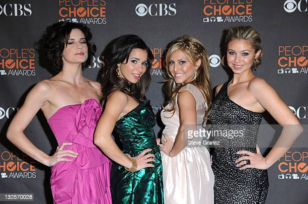 Actresses Chelsea Hobbs, Josie Loren, Cassie Scerbo, and Ayla Kell arrive at the People's Choice Awards 2010 held at Nokia Theatre L.A. Live on...