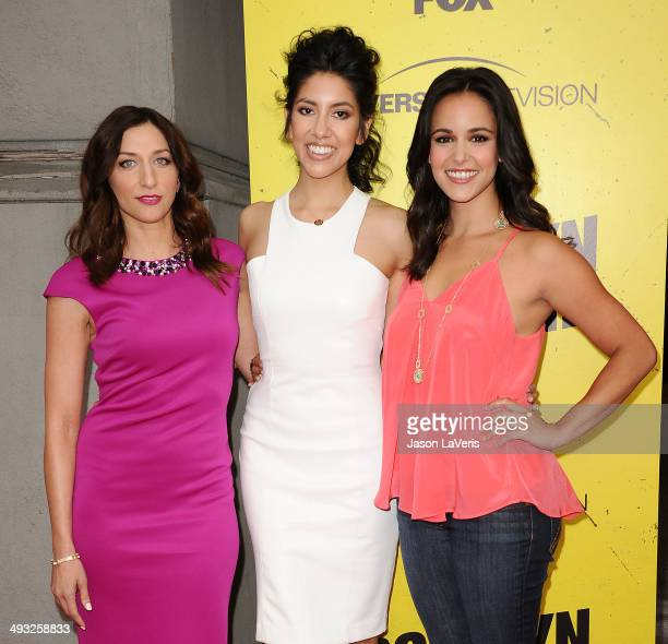 Actresses Chelsea Peretti Stephanie Beatriz and Melissa Fumero attend the Brooklyn NineNine steakout block party and special screening event at...