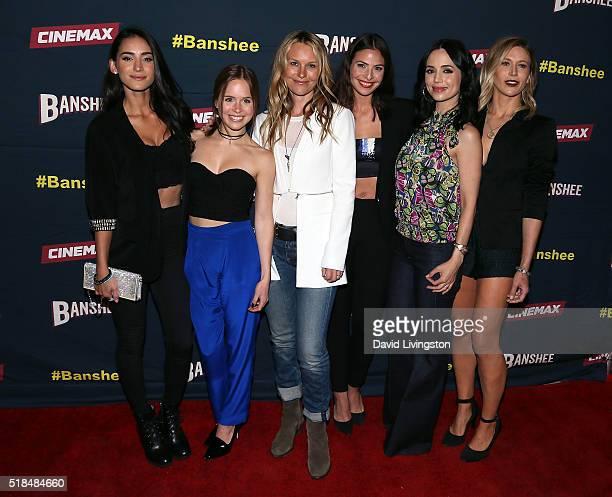 Actresses Cherie Jimenez Ryann Shane Tanya Clarke Ana Ayora Eliza Dushku and Jennifer Landon attend the premiere of Cinemax's 'Banshee' 4th Season at...