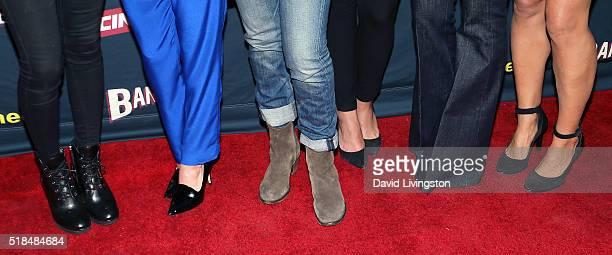 Actresses Cherie Jimenez Ryann Shane Tanya Clarke Ana Ayora Eliza Dushku and Jennifer Landon shoe detail attend the premiere of Cinemax's 'Banshee'...