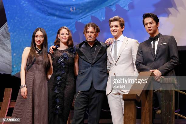 Actresses Chiaki Kuriyama Kaya Scodelario Actors Johnny Depp Brenton Thwaites and Taishi Nakagawa attend the Japan Premiere of 'Pirates Of The...