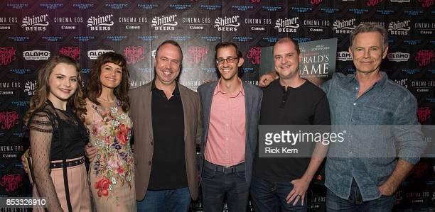 Actresses Chiara Aurelia Carla Gugino producer Trevor Macy Matt Levin director Mike Flanagan and actor Bruce Greenwood at the Netflix Films Gerald's...