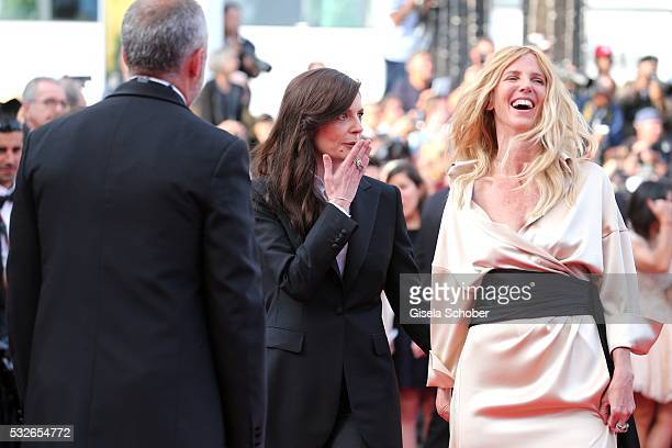 Actresses Chiara Mastroianni and Sandrine Kiberlain attend The Unknown Girl Premiere during the 69th annual Cannes Film Festival at the Palais des...