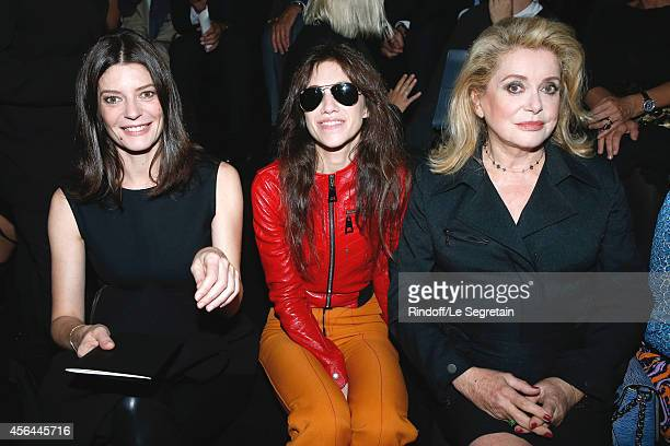 Actresses Chiara Mastroianni Charlotte Gainsbourg and Catherine Deneuve attend the Louis Vuitton show as part of the Paris Fashion Week Womenswear...