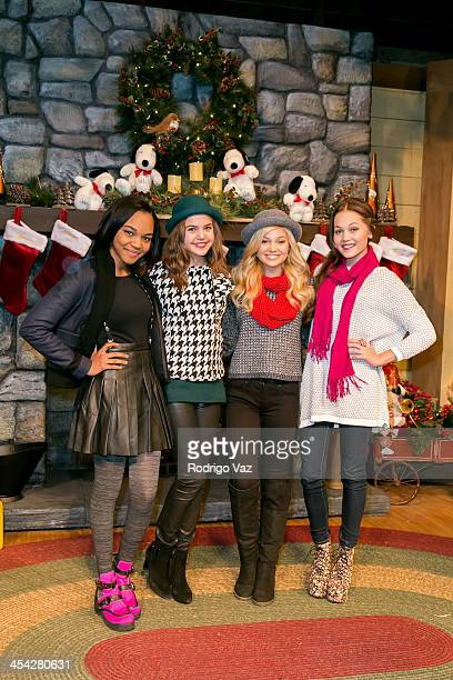 Actresses China Anne McClain Bailee Madison Olivia Holt and Kelli Berglund attend the Knott's Merry Farm Holiday Reading and Tree Lighting at Knott's...