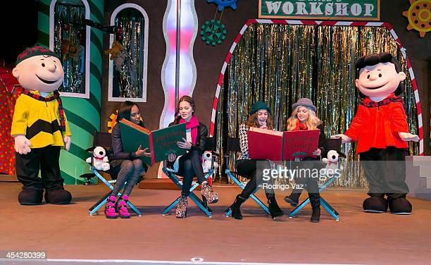 Actresses China Anne McClain Kelli Berglund Bailee Madison and Olivia Holt with characters Lucy and Charlie Brown attend the Knott's Merry Farm...