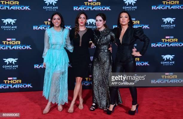 Actresses Chloe Bennett Natalia CordovaBuckley Elizabeth Henstridge and MingNa Wen arrive for the premiere of the film Thor Ragnarok in Hollywood...