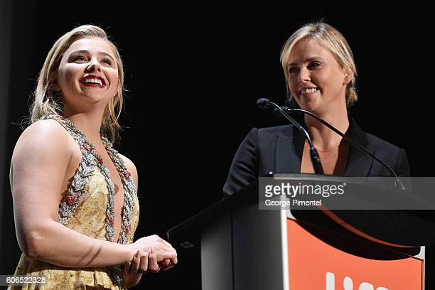 Actresses Chloe Grace Moretz and Charlize Theron speak on stage at the 'Brain On Fire' Premiere during the 2016 Toronto International Film Festival...