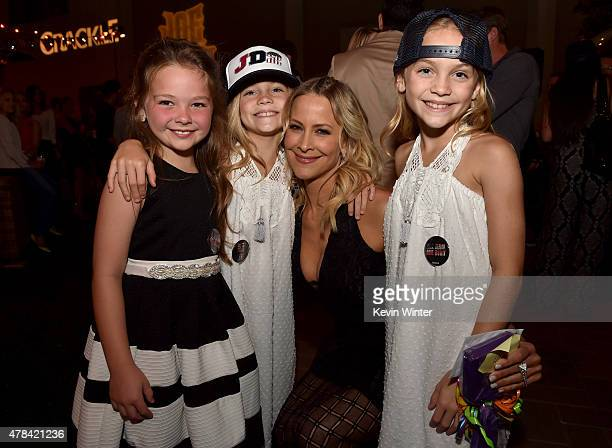 Actresses Chloe Guidry Allison Gobuzzi Brittany Daniel and Lauren Gobuzzi pose at the after party for the premiere of Crackle's Joe Dirt 2 Beautiful...