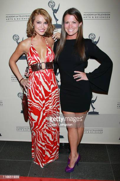 Actresses Chrishell Stause and Melissa Claire Egan attend the 2011 Daytime Emmy Awards nominees cocktail reception at SLS Hotel Beverly Hills on June...