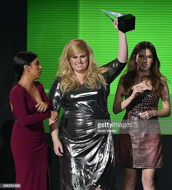 Actresses Chrissie Fit Rebel Wilson and Anna Kendrick accept Top Soundtrack award for 'Pitch Perfect 2' onstage during the 2015 American Music Awards...