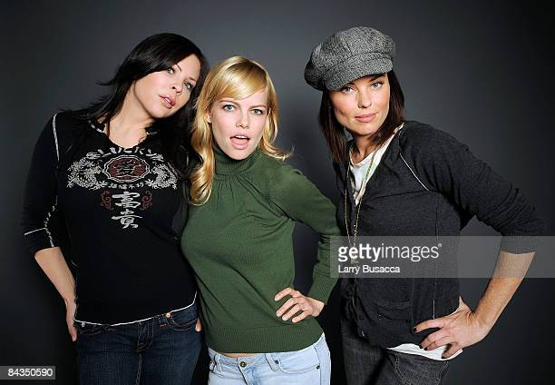 Actresses Christa Campbell Mircea Monroe and Donnamarie Recco pose at the Hollywood Life House on January 18 2009 in Park City Utah