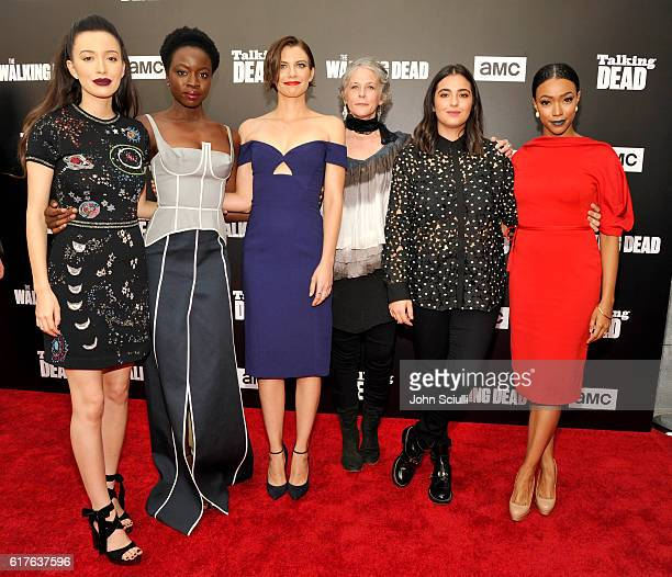 Actresses Christian Serratos Danai Gurira Lauren Cohan Melissa McBride Alanna Masterson and Sonequa Martin attend AMC presents 'Talking Dead Live'...