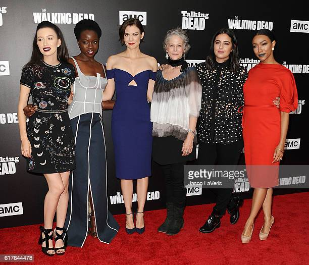 Actresses Christian Serratos Danai Gurira Lauren Cohan Melissa McBride Alanna Masterson and Sonequa Martin attend the live 90minute special edition...