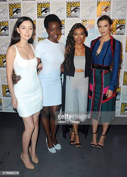 Actresses Christian Serratos Danai Gurira Sonequa MartinGreen and Lauren Cohan attend AMC's 'The Walking Dead' panel during ComicCon International...