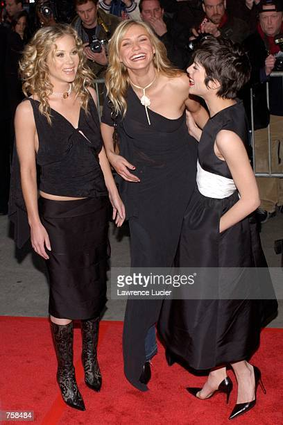 Actresses Christina Applegate Cameron Diaz and Selma Blair arrive at the premiere of The Sweetest Thing April 8 2002 in New York City