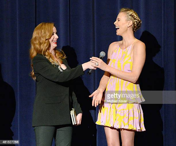 Actresses Christina Hendricks and Charlize Theron speak onstage at Apothic Wines and SVEDKA Vodka Present the Los Angeles Premiere of A24 and...