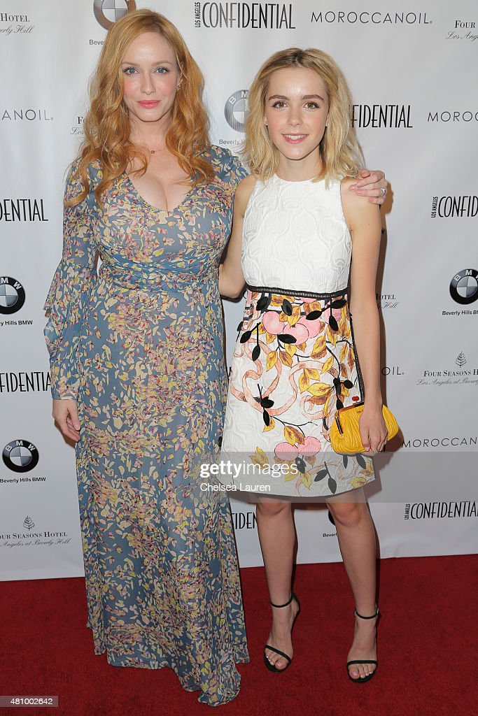 Actresses Christina Hendricks (L) and Kiernan Shipka attend Los Angeles Confidential Women Of Influence Celebration hosted by Christina Hendricks on July 16, 2015 in Los Angeles, California.