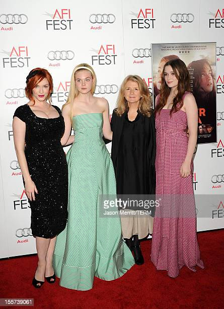 Actresses Christina Hendricks Elle Fanning director Sally Potter and actress Alice Englert arrive at the Ginger And Rosa special screening during AFI...