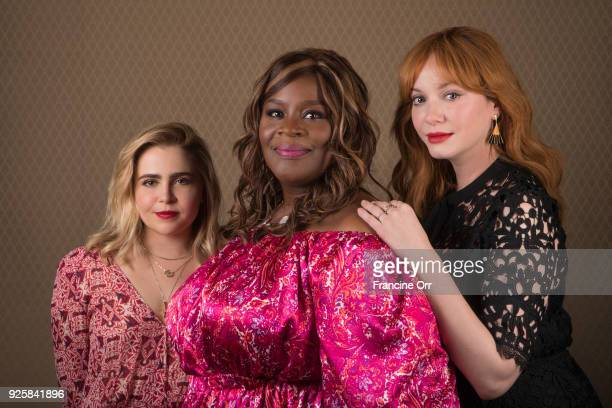 Actresses Christina Hendricks Retta and Mae Whitman are photographed for Los Angeles Times on January 9 2018 in Los Angeles California PUBLISHED...