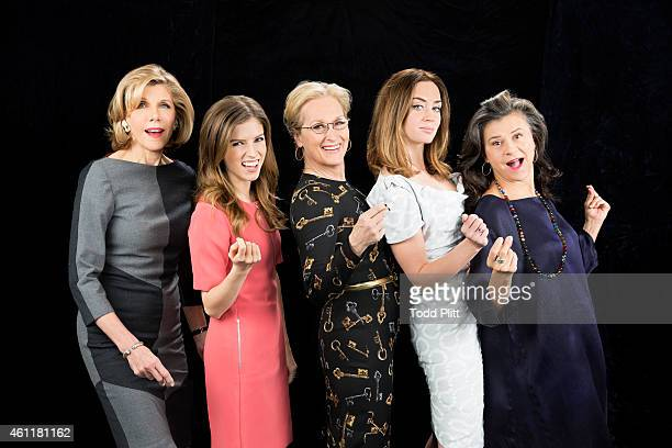 Actresses Christine Baranski Anna Kendrick Meryl Streep Emily Blunt and Tracey Ullman are photographed for USA Today on November 23 2014 in New York...