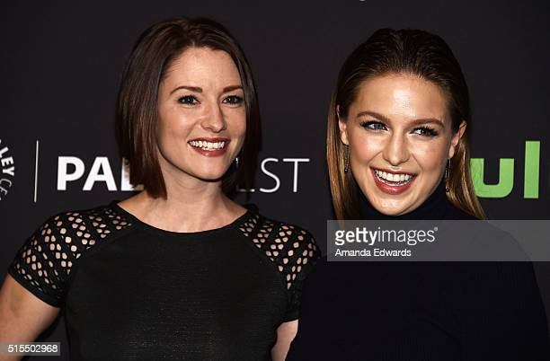 Actresses Chyler Leigh and Melissa Benoist arrive at The Paley Center For Media's 33rd Annual PaleyFest Los Angeles presentation of 'Supergirl' at...
