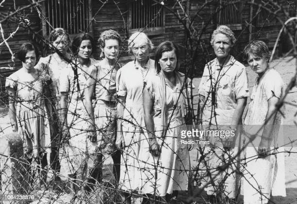 Actresses Cindy Shelley, Claire Oberman, Emily Bolton, Ann Bell, Jean Anderson, Veronica Roberts and Stephanie Cole in a scene from the television...