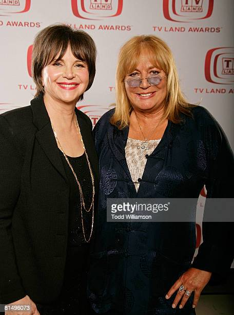 Actresses Cindy Williams and Penny Marshall pose for a portrait during the 6th annual TV Land Awards held at Barker Hanger on June 8 2008 in Santa...