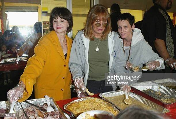 Actresses Cindy Williams Penny Marshall and Lori Petty serve food at A Place Called Home which provides atrisk youth with a secure positive family...