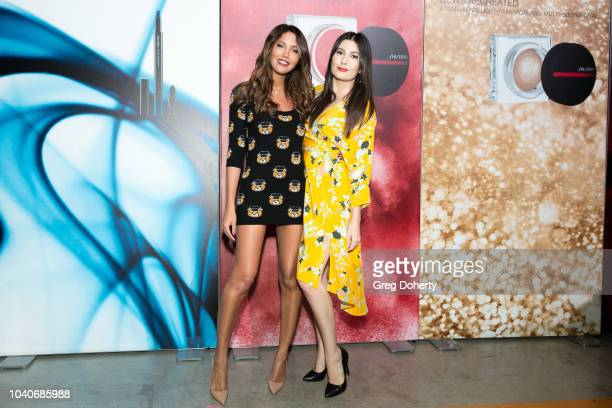 Actresses CJ Franco and Celeste Thorson attend the Shiseido Makeup Launch Party at Quixote Studios on September 25 2018 in Los Angeles California