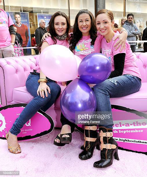 Actresses Claire Cooper Hayley Tamaddon and LucyJo Hudson participate in Leeds' second annual High Heelathon at Victoria Quarter on September 26 2010...