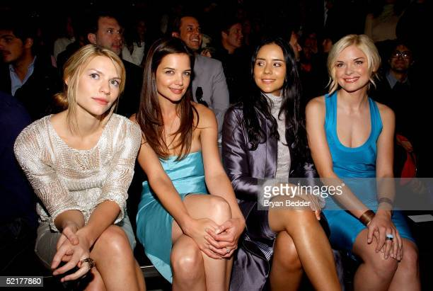 Actresses Claire Danes Katie Holmes Catalina Sandino Moreno and Jaime King attend the Calvin Klein Fall 2005 show during Olympus Fashion Week at Milk...