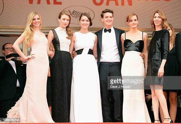 Actresses Claire Julien, Taissa Farmiga and Katie Chang, actor Israel Broussard, actress Emma Watson and director Sofia Coppola attends 'The Bling...