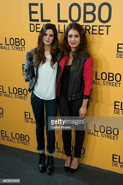 Actresses Clara Lago and Hiba Abouk attend the The Wolf of Wall Street premiere at the Palafox cinema on January 15 2014 in Madrid Spain