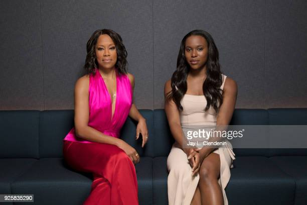 Actresses ClareHope Ashitey and Regina King are photographed for Los Angeles Times on February 13 2018 in Los Angeles California PUBLISHED IMAGE...