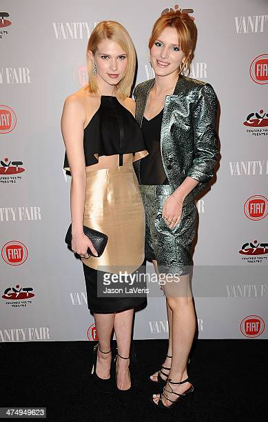 Actresses Claudia Lee and Bella Thorne attend the Vanity Fair Campaign Young Hollywood party at No Vacancy on February 25 2014 in Los Angeles...