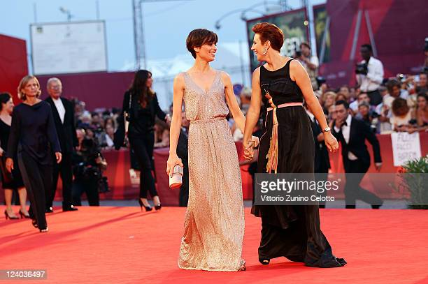 Actresses Claudia Pandolfi and Michela Cescon attend the 'Quando La Notte' premiere during the 68th Venice Film Festival at Palazzo del Cinema on...